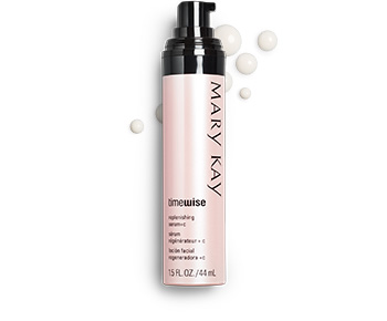 A tube of TimeWise Replenishing Serum plus C with accompanying product rubs.