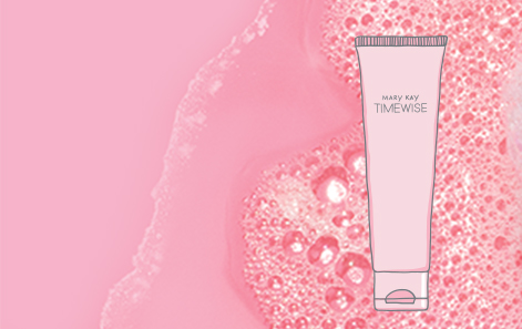 An illustration of facial cleanser on a pink background with bubbles