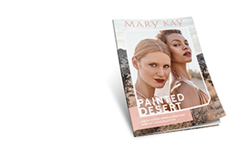 Cover of the Mary Kay e-catalog shows two models wearing makeup looks inspired by the Painted Desert trend.