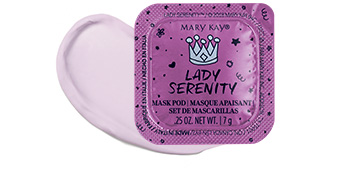 Closed Lady Serenity mask from the Limited Edition Mary Kay Mad About Masking Mask Pod Gift Set styled with product rub of the mask.