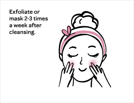 Hand-drawn style illustration of woman masking