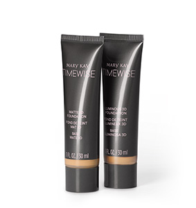 Two black tubes of Mary Kay TimeWise 3D Foundation, one matte finish and one luminous.