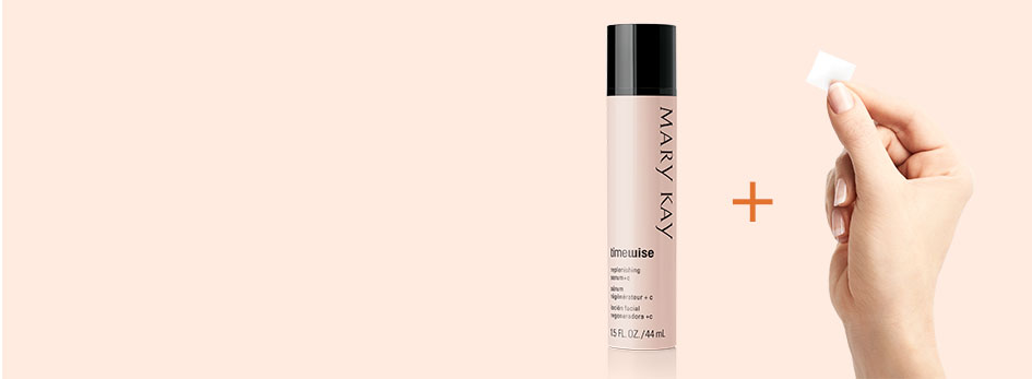 When you combine NEW TimeWise Vitamin C Activating Squares with your favorite Mary Kay serum, it powers up your serum for an age-fighting boost. Image features a light orange background. On the right side, the TimeWise Replenishing Serum plus c bottle is shown along with a hand holding a new TimeWise Vitamin C Activating Square. In between them is a dark orange plus sign.