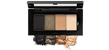 Limited-Edition Mary Kay Chromafusion Eye Shadow Bundle in Opulent Golds placed in the Mary Kay Petite Palette and as loose crumbles.